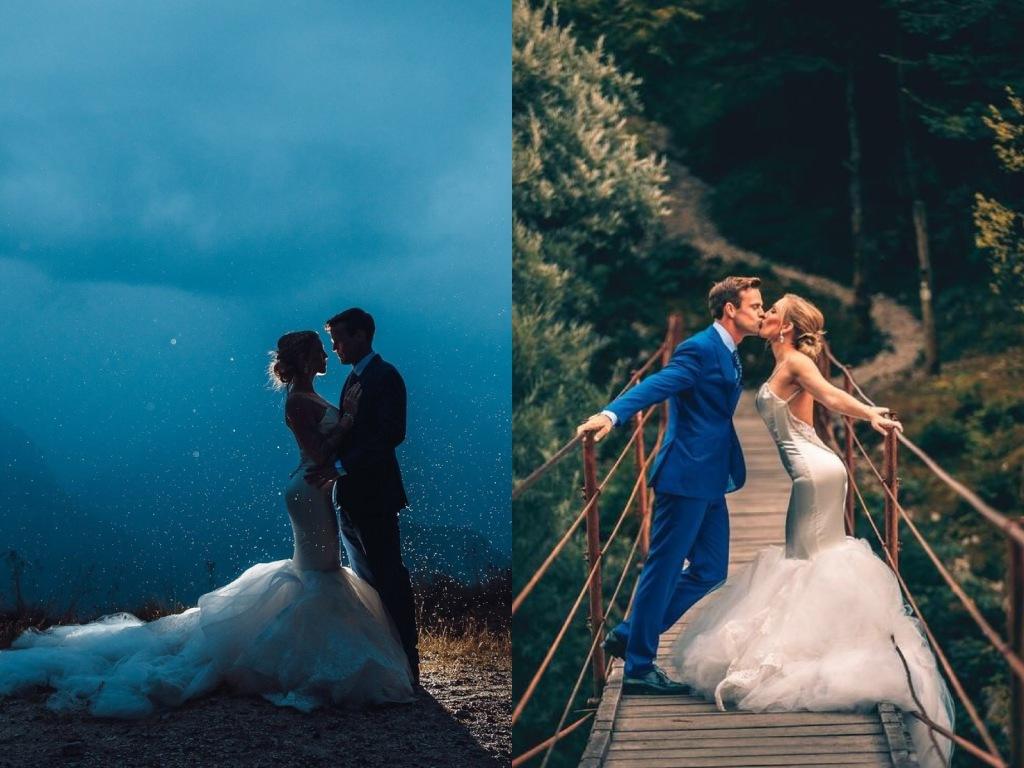 Bride Natanie's custom Lauren Elaine mermaid wedding dress at Lake Bled, Slovenia