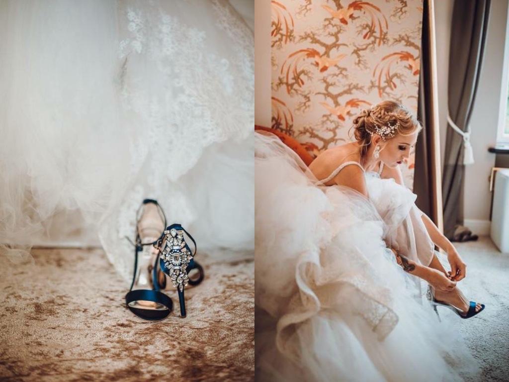 Bride Natanie prepares for her wedding in custom satin Lauren Elaine mermaid wedding dress