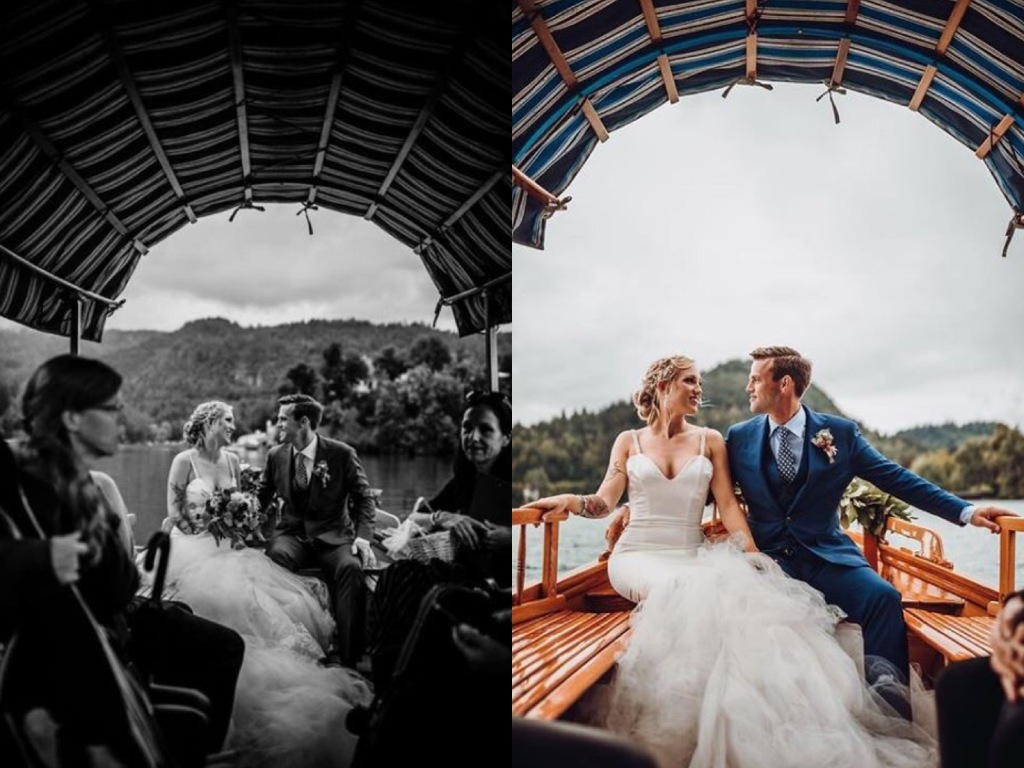 "A fairytale wedding on Lake Bled, Slovenia featuring a custom Lauren Elaine ""Epiphany"" wedding gown"