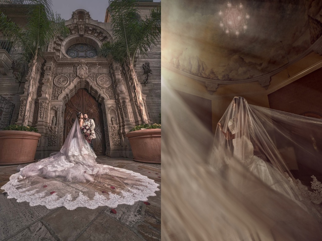 Bride Bryanna wears a custom Lauren Elaine Arabelle mermaid wedding dress at the Mission Inn Hotel in Riverside, CA