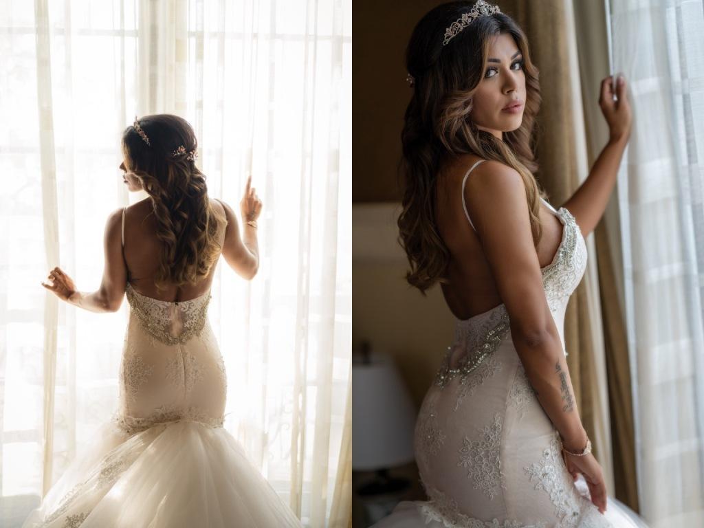 Bride Bryanna wears a custom Lauren Elaine Arabelle mermaid wedding dress at the Mission Inn Hotel