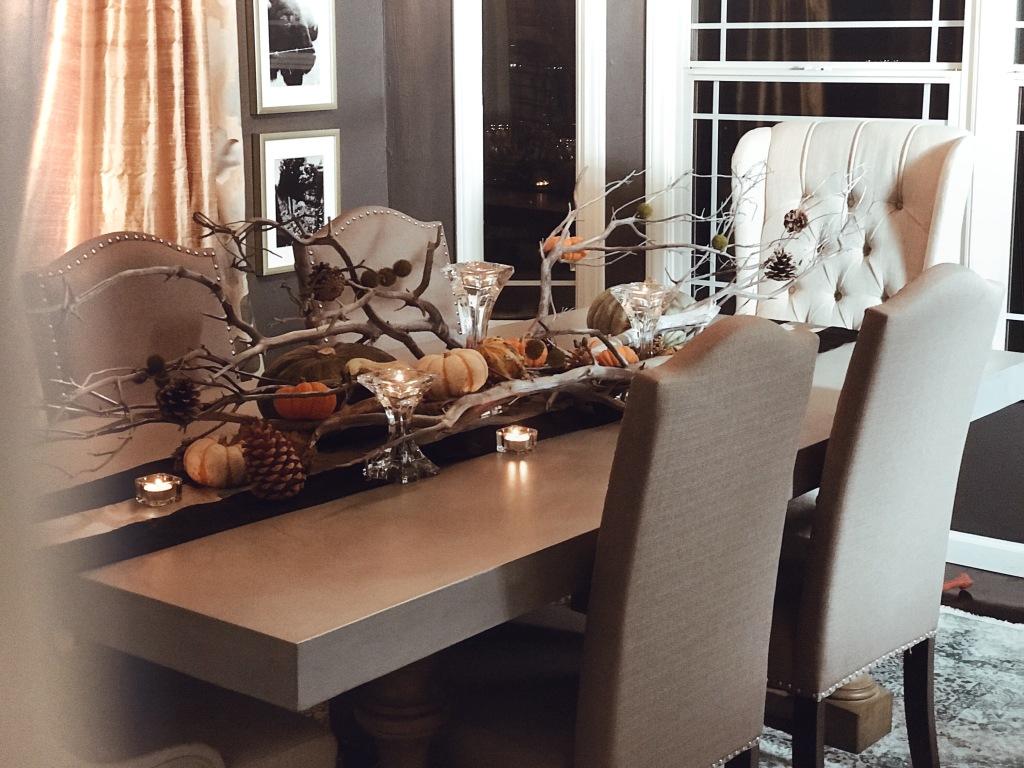 Pumpkin and gourd Fall table scape decor by Designer Lauren Elaine at Castle Vista