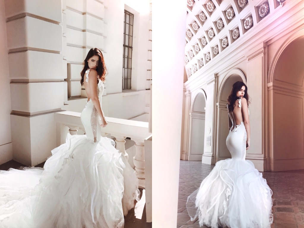"Lauren Elaine ""Euphoria"" Satin mermaid backless wedding dress with lace appliqués details"