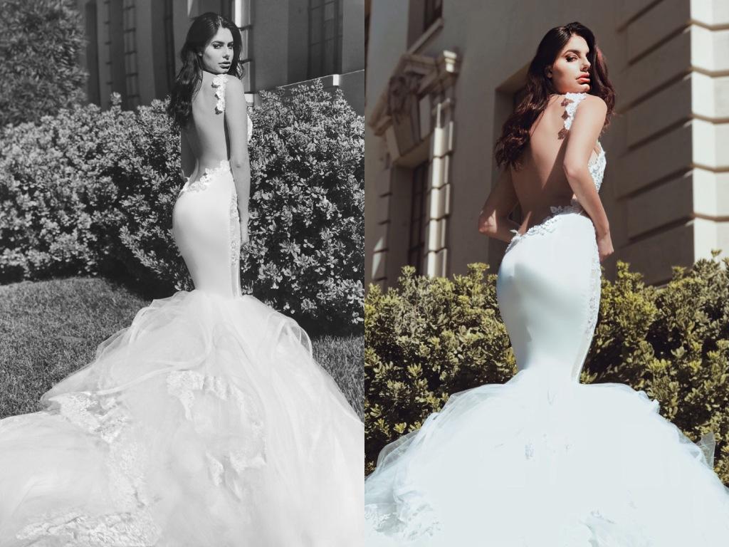 Backless mermaid wedding dresses by Lauren Elaine Bridal in Los Angeles, California