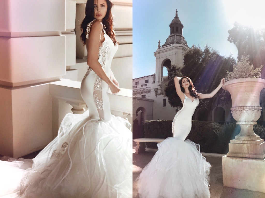 Sexy illusion satin and lace mermaid wedding dress by Lauren Elaine Bridal