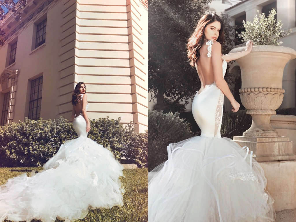 "Lauren Elaine ""Euphoria"" backless satin mermaid wedding dress with detachable cathedral train"