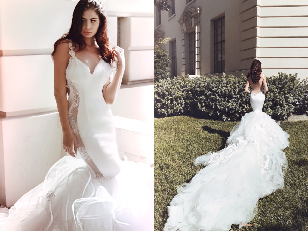 "Sexy backless mermaid wedding dress ""Euphoria"" by Lauren Elaine Bridal"