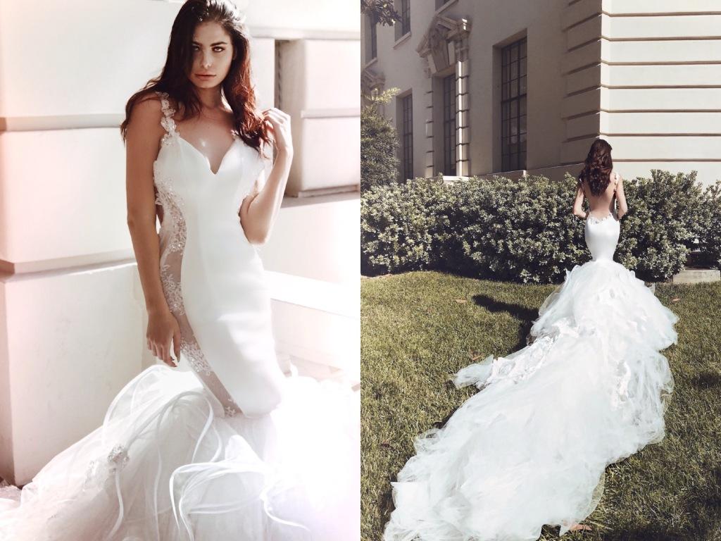 "Sexy backless mermaid wedding dress ""Euphoria"" by Lauren Elaine Bridal"